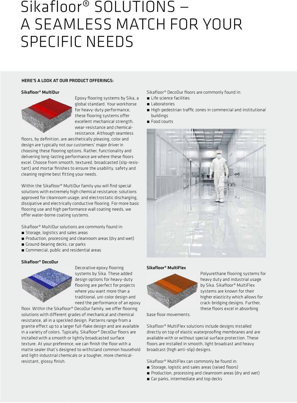 FLOORING SIKA TECHNOLOGY AND CONCEPTS FOR FLOORING AND
