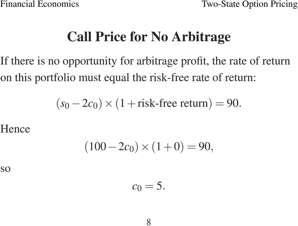 equal the risk-free rate of return: (s 0 2c 0 ) (1 +