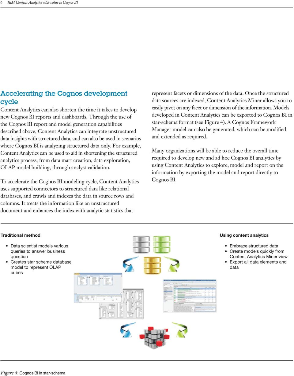 where Cognos BI is analyzing structured only.