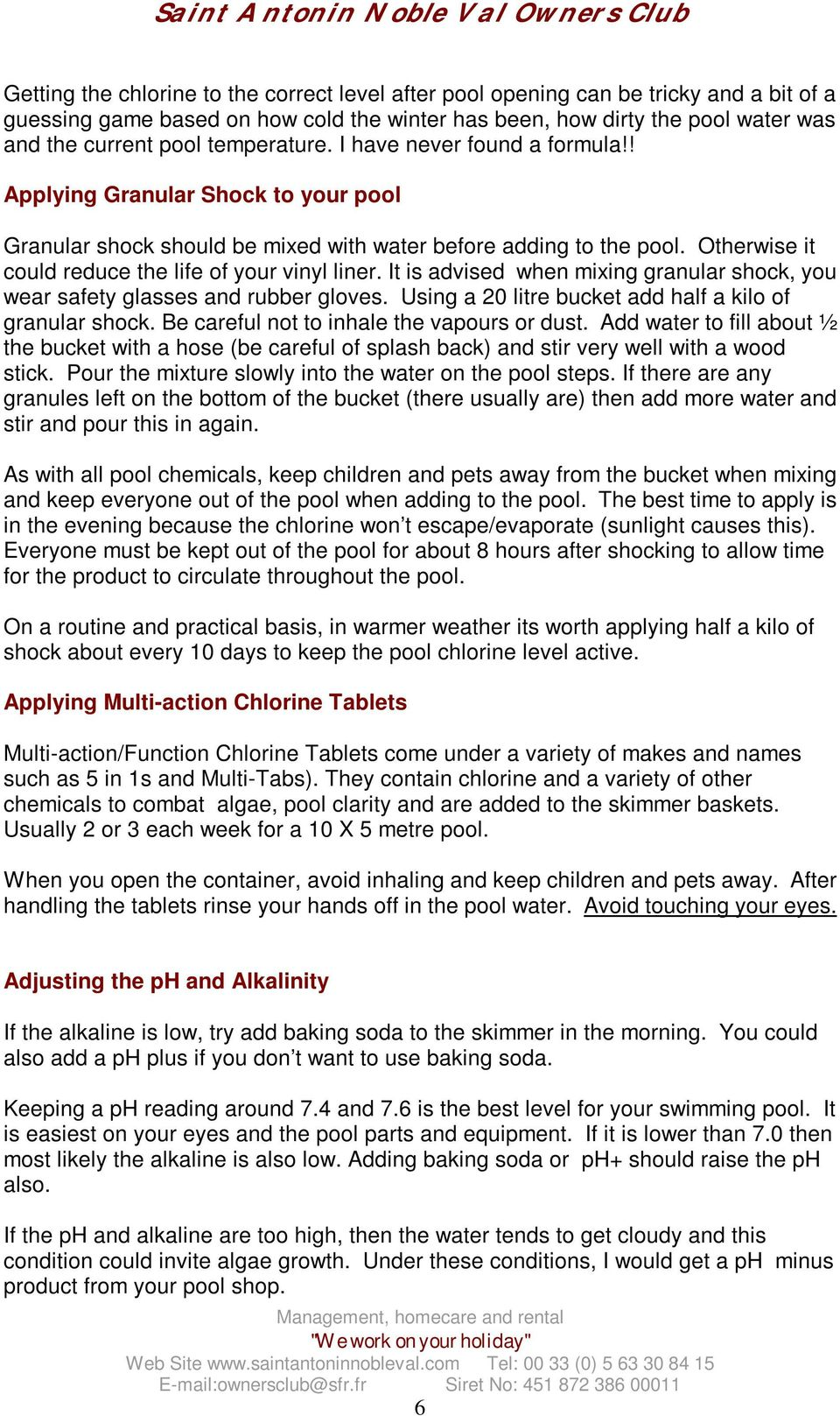 A Guide to looking after your swimming pool - PDF