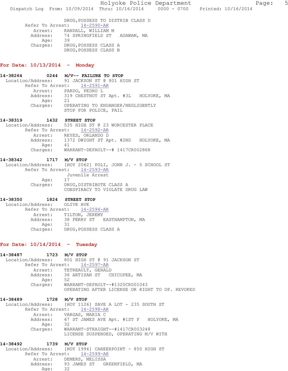 Holyoke Police Department Page: 1 Dispatch Log From: 10/09