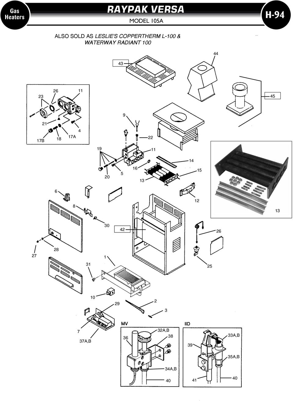 raypak heaters gas heaters h 90 guide to most mon parts e z find 1995 Heater Diagram 17b 18 17a 4 22 19 11 14 20 5 16 13 15 6 8 12
