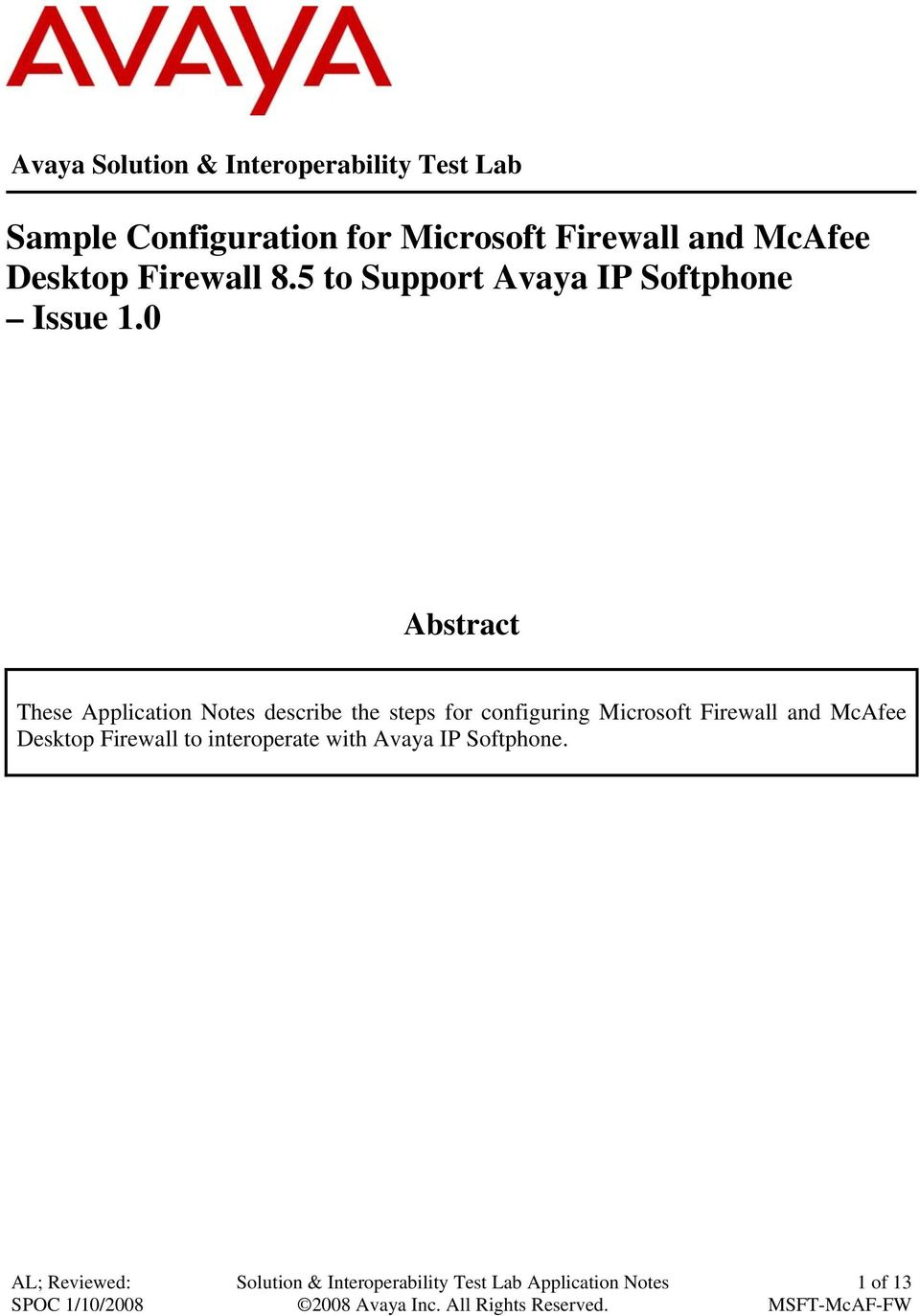 Sample Configuration for Microsoft Firewall and McAfee