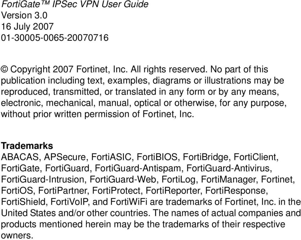 USER GUIDE  FortiGate IPSec VPN Version 3 0 MR5  - PDF