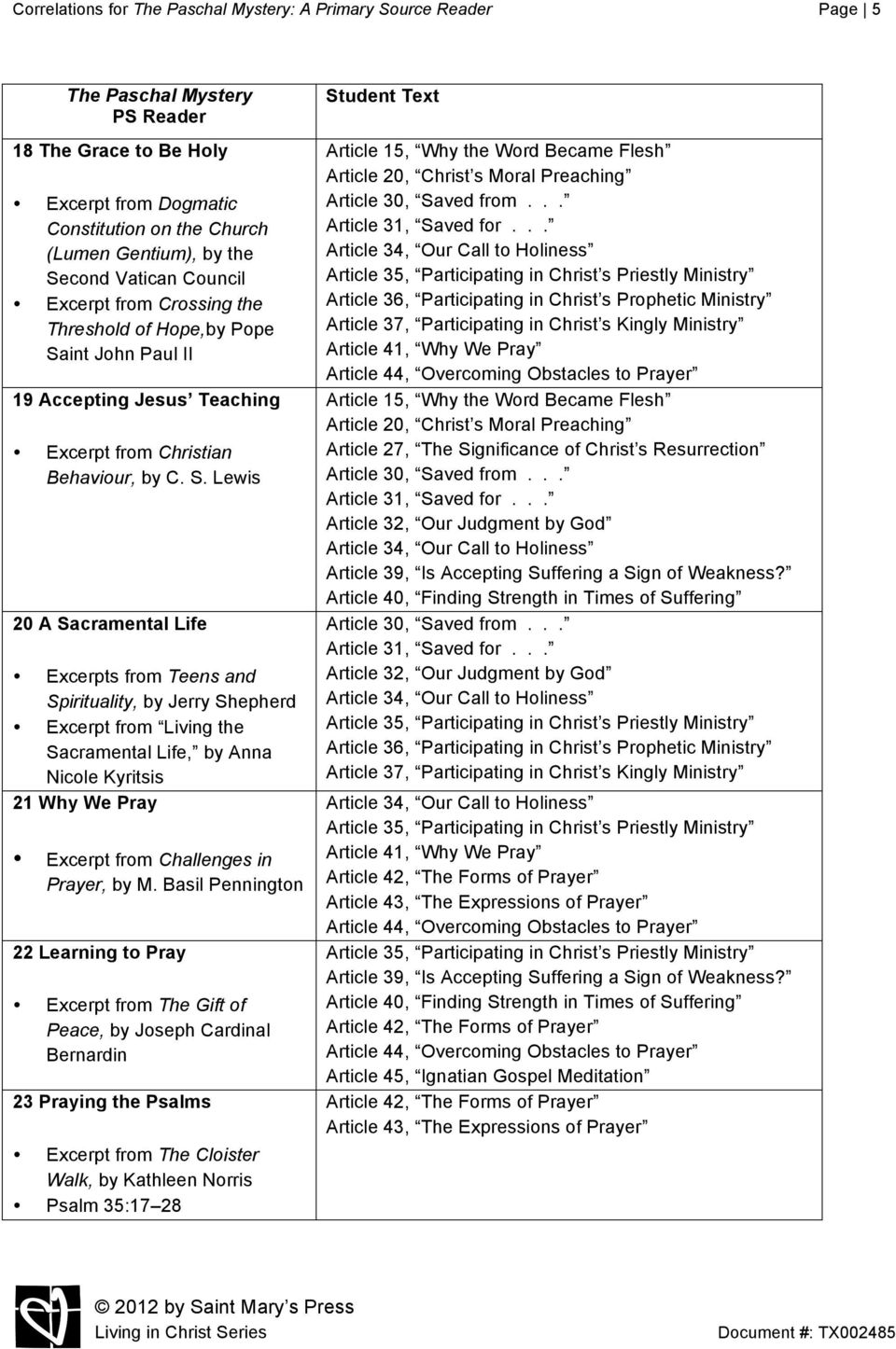 Correlations for The Paschal Mystery: A Primary Source