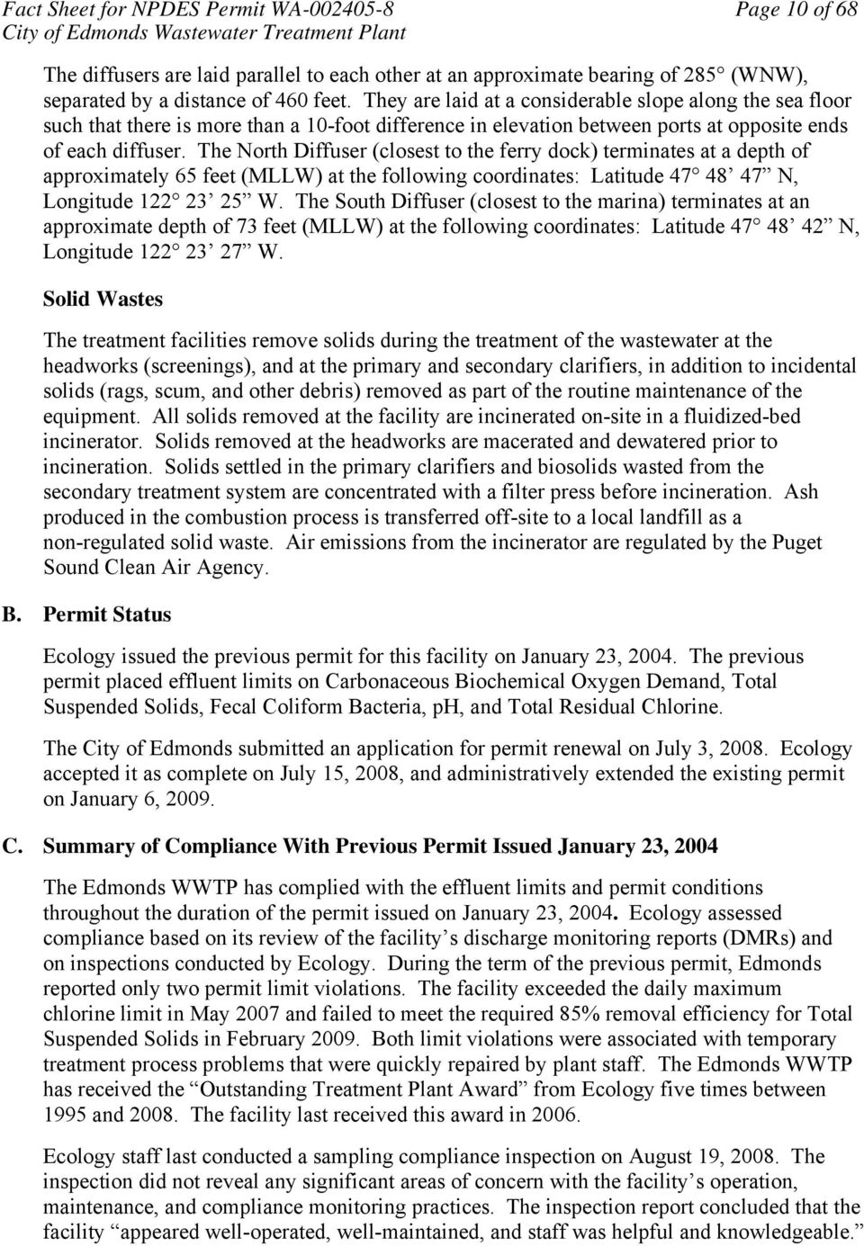 Fact sheet for npdes permit wa pdf the north diffuser closest to the ferry dock terminates at a depth of approximately 11 fact sheet publicscrutiny Image collections