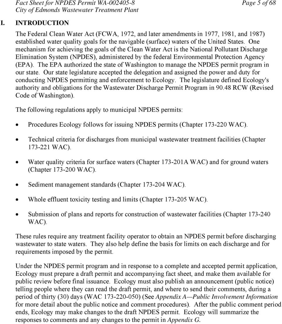 Fact sheet for npdes permit wa pdf one mechanism for achieving the goals of the clean water act is the national pollutant discharge 6 fact sheet publicscrutiny Image collections
