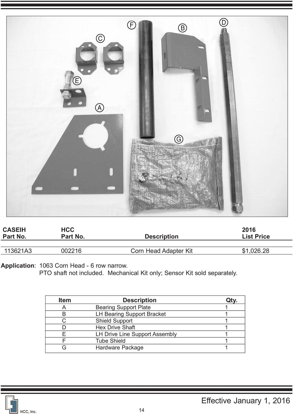 Field Tracker For Caseih Combines Pdf Corn Pro Wiring Diagram Mechanical Kit Only Sensor Sold Separately