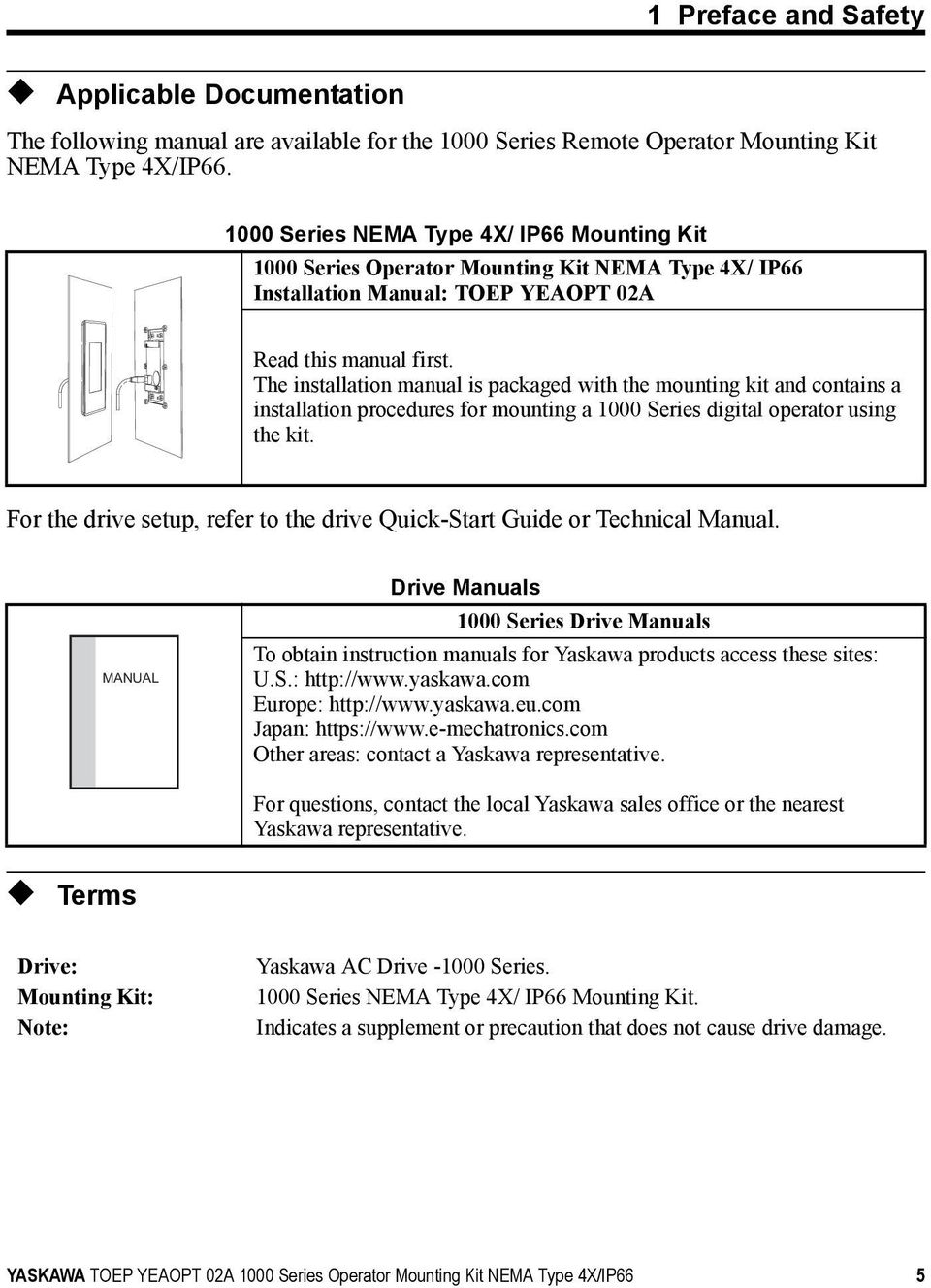 Operator Mounting Kit Pdf Printed Circuit Board Repair On Allen Bradley Magnetek Yaskawa The Installation Manual Is Packaged With And Contains A Procedures For