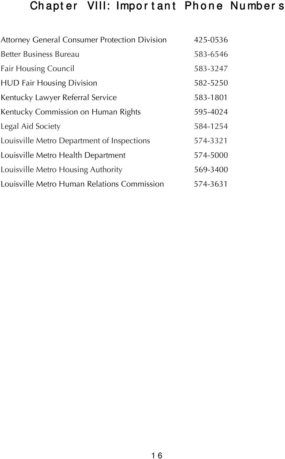 Commission on Human Rights 595-4024 Legal Aid Society 584-1254 Louisville Metro Department of Inspections 574-3321