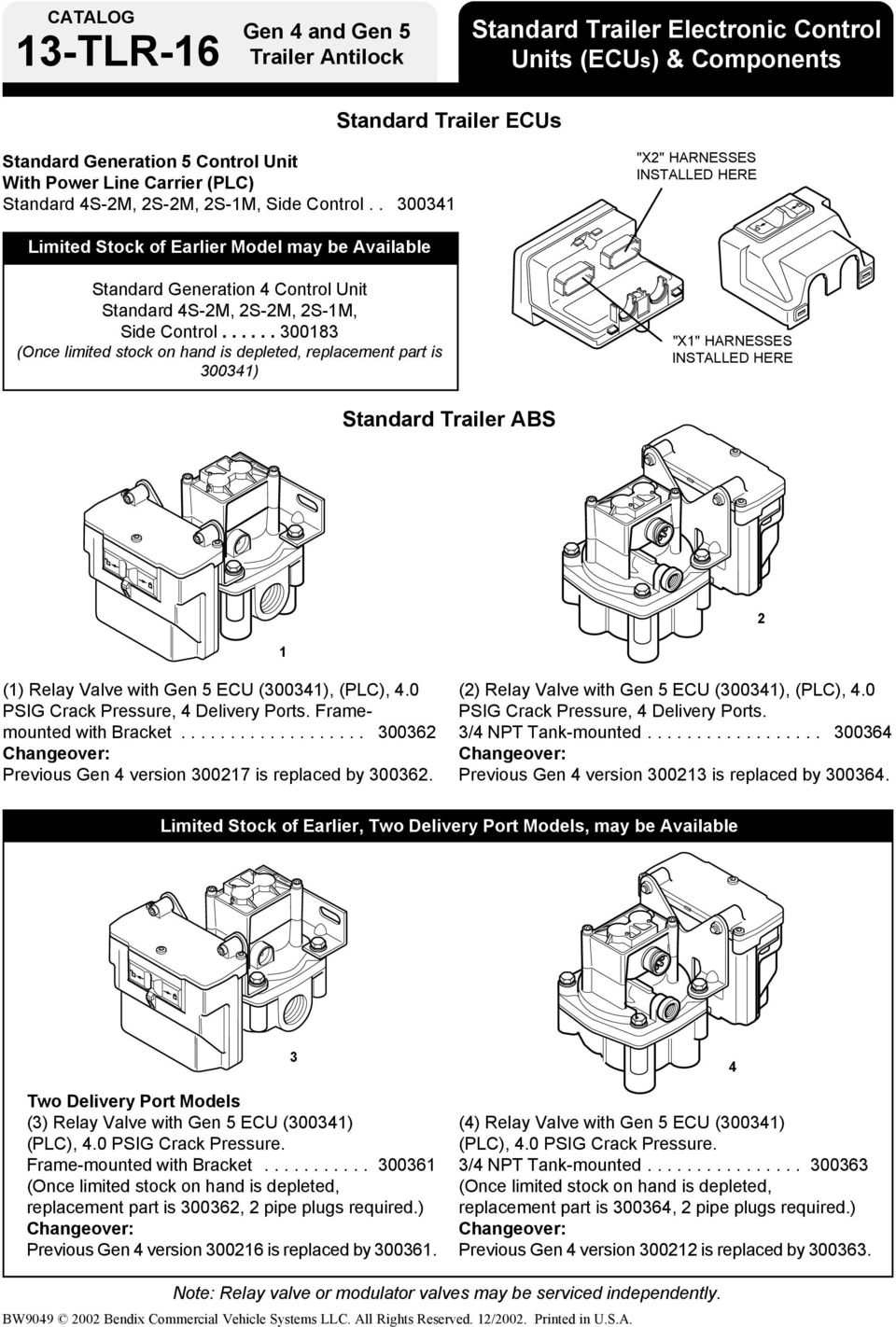 Bendix Abs For Trailers Pdf Haldex Trailer Wiring Diagrams 300341 X2 Harnesses Installed Here Limited Stock Of Earlier Model May Be Available