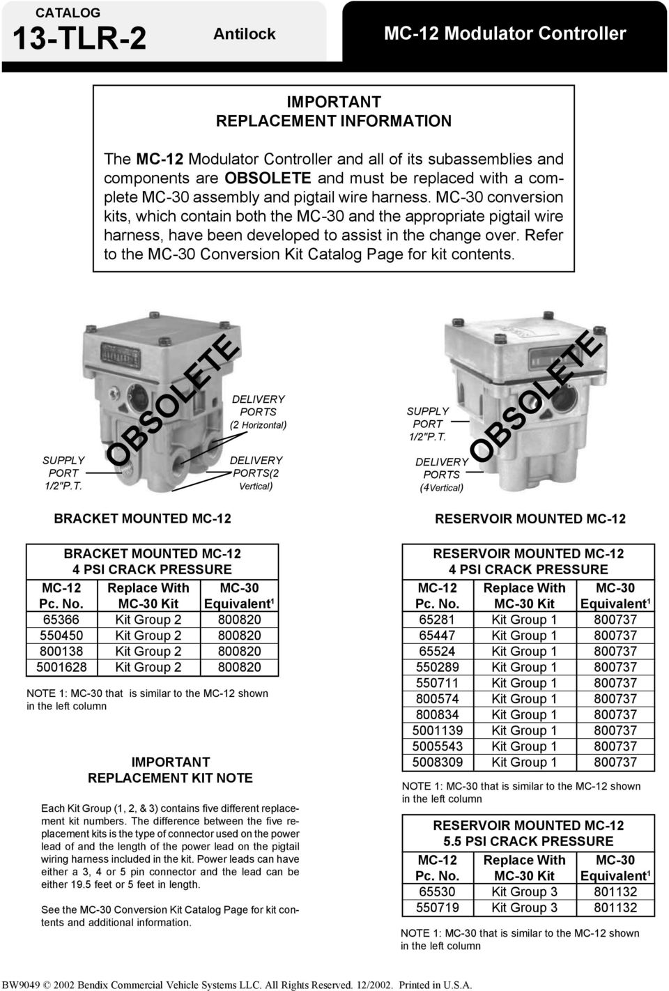 Bendix Abs For Trailers Pdf Pt Trailer Wiring Harness Refer To The Mc 30 Conversion Kit Catalog Page Contents Supply Port
