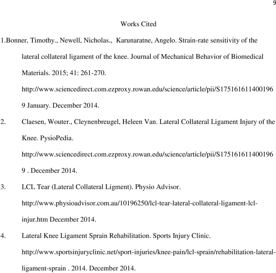 The Lateral Collateral Ligament Sprain Ashley Demarco Pathology