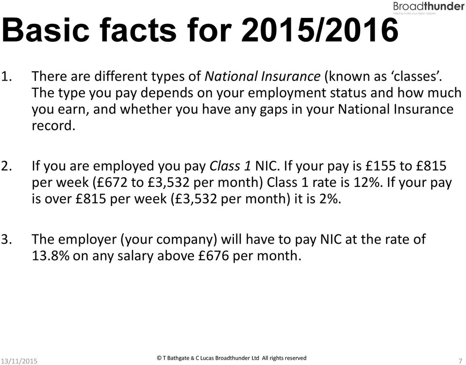 record. 2. If you are employed you pay Class 1 NIC. If your pay is 155 to 815 per week ( 672 to 3,532 per month) Class 1 rate is 12%.