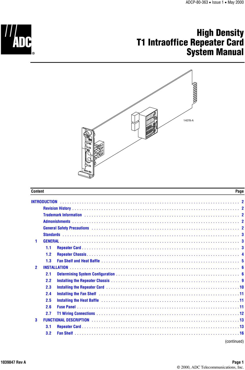 T1 Repeater Housing Wiring Diagram