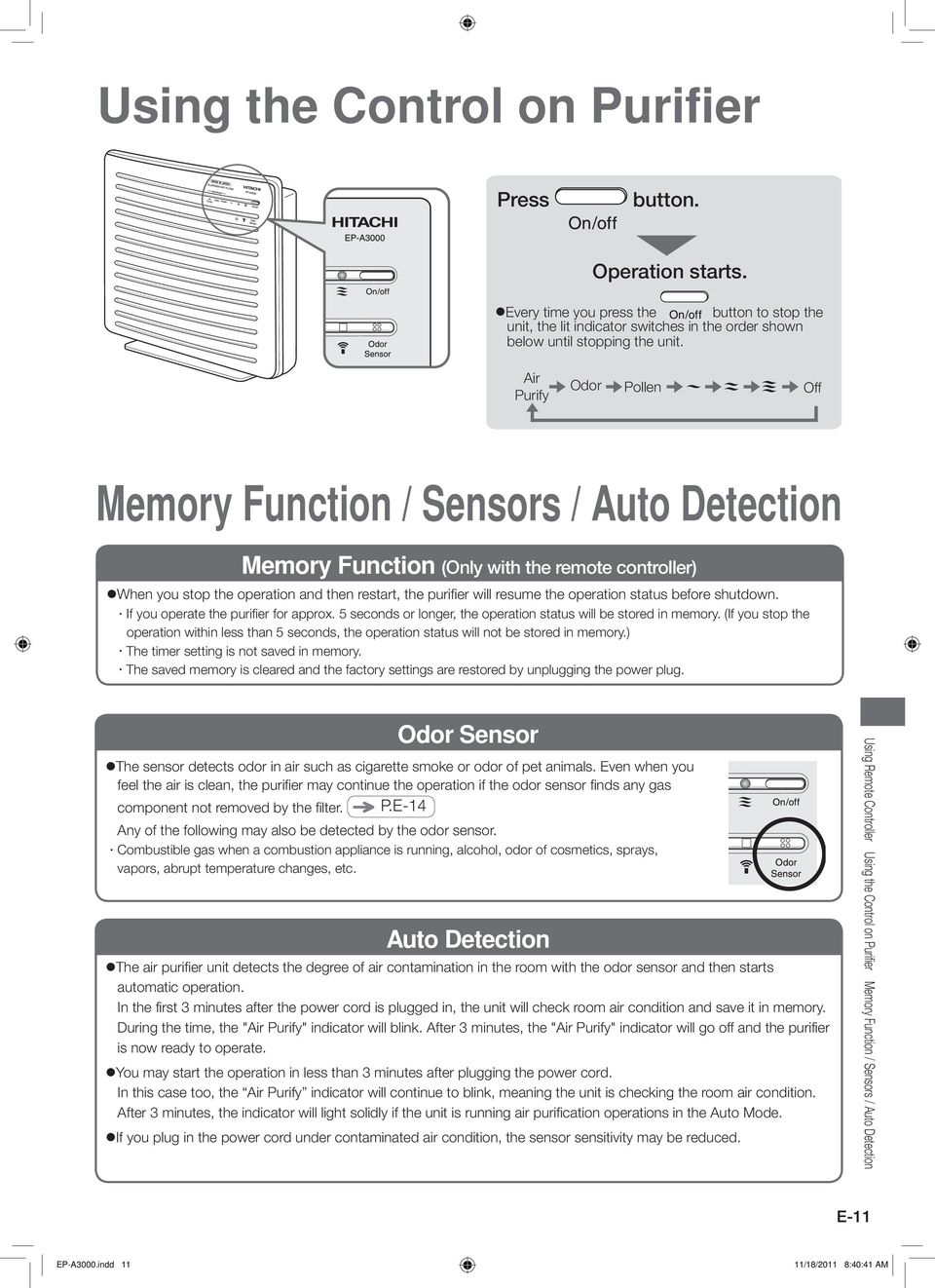 Ep A3000 Instruction Manual Hitachi Air Purifier Model Contents W If You Operate The For Approx 5 Seconds Or