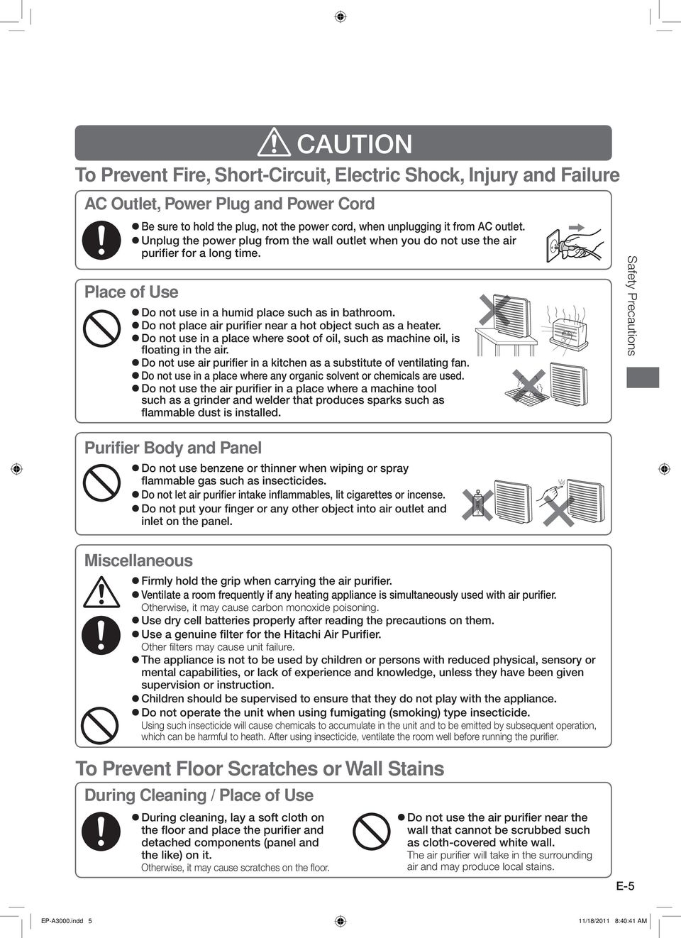 Ep A3000 Instruction Manual Hitachi Air Purifier Model Contents W Do Not Place Near A Hot Object Such As Heater