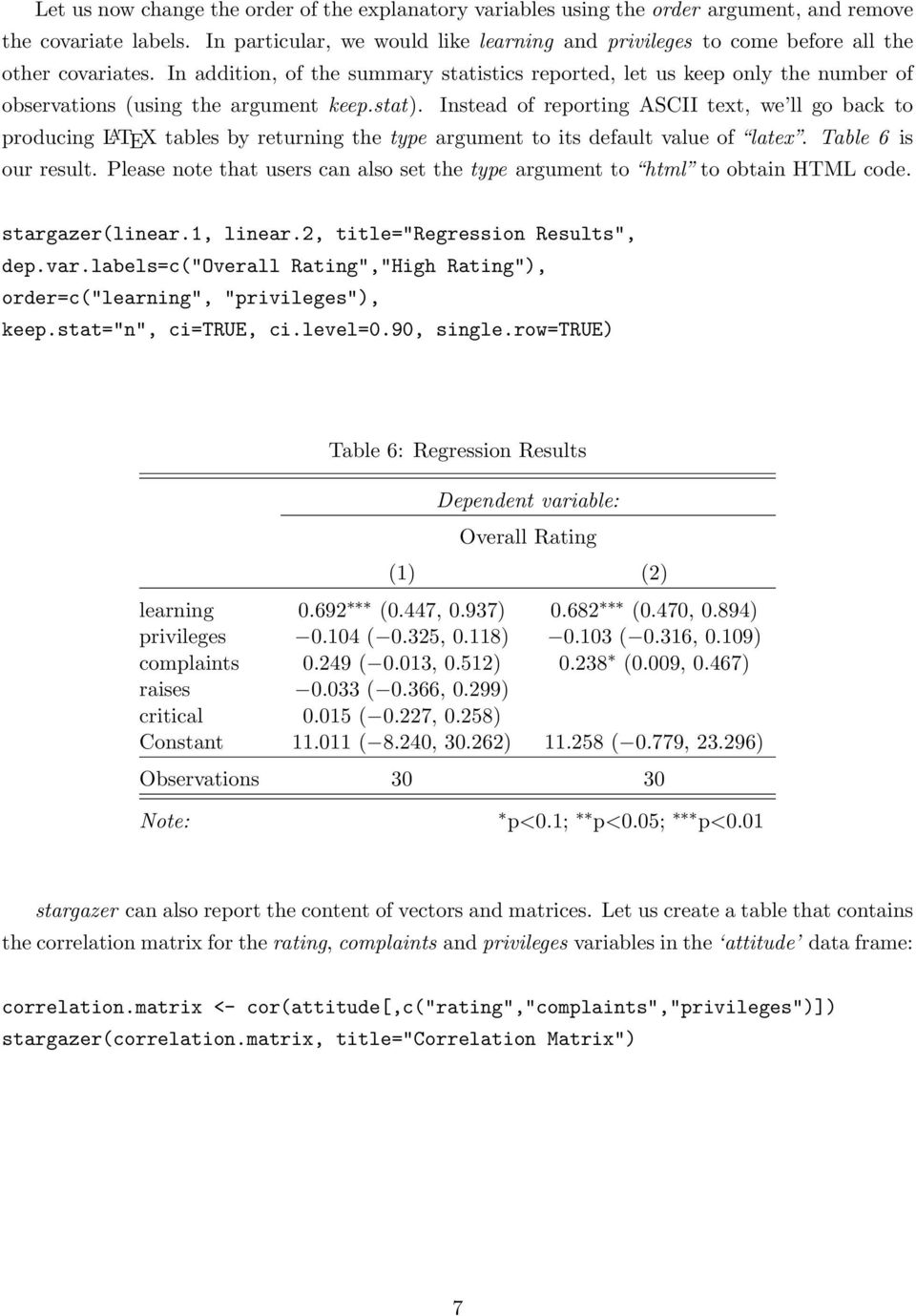 stargazer: beautiful L A TEX, HTML and ASCII tables from R