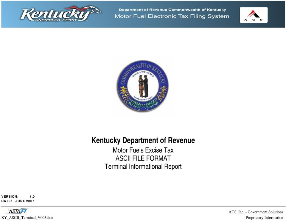 Kentucky Department of Revenue Motor Fuels Excise Tax ASCII FILE