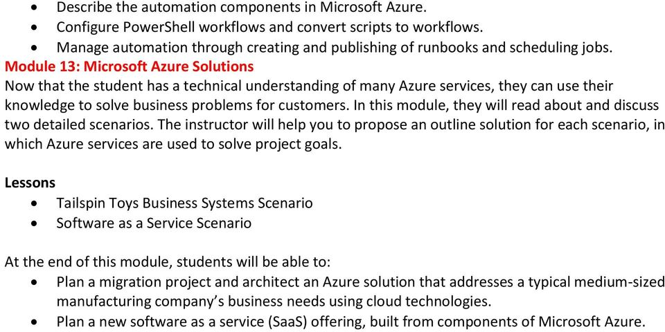 Module 13: Microsoft Azure Solutions Now that the student has a technical understanding of many Azure services, they can use their knowledge to solve business problems for customers.