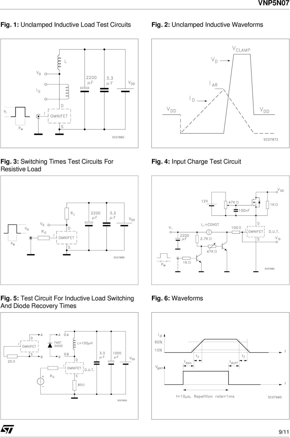 Vnp5n07 Omnifet Fully Autoprotected Power Mosfet Pdf Pushpull Darlington Amplifier Circuit Diagram Tradeoficcom 3 Switching Times Test Circuits For Resistive Load Fig