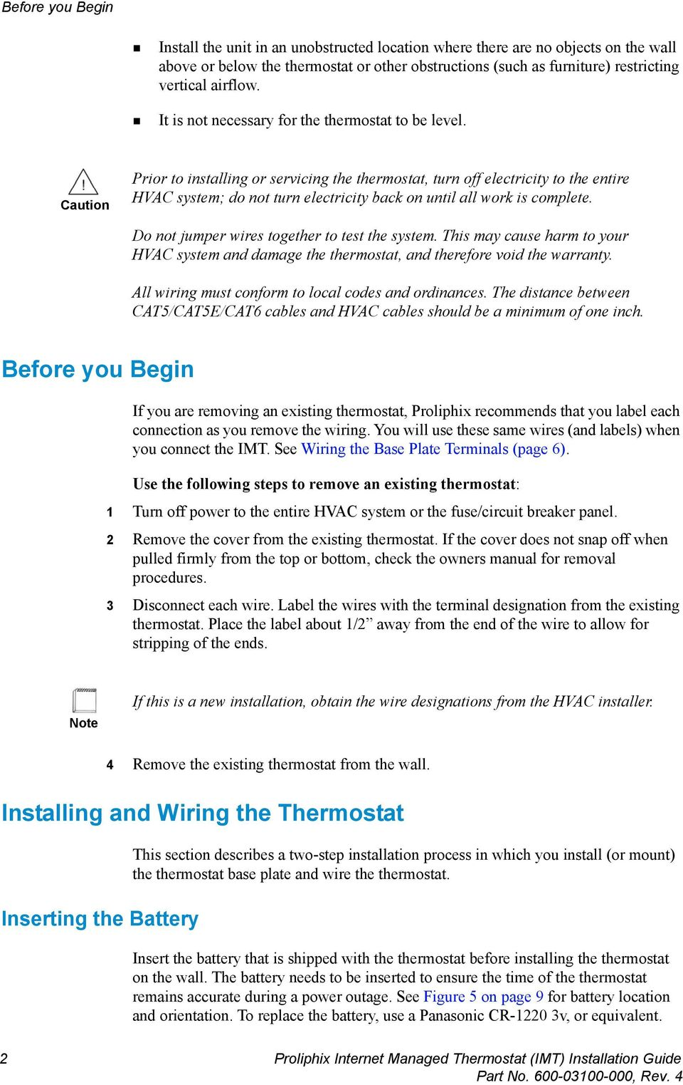 Proliphix Internet Managed Thermostat Imt Installation Guide Pdf Wiring Labels Number Caution Prior To Installing Or Servicing The Turn Off Electricity Entire Hvac