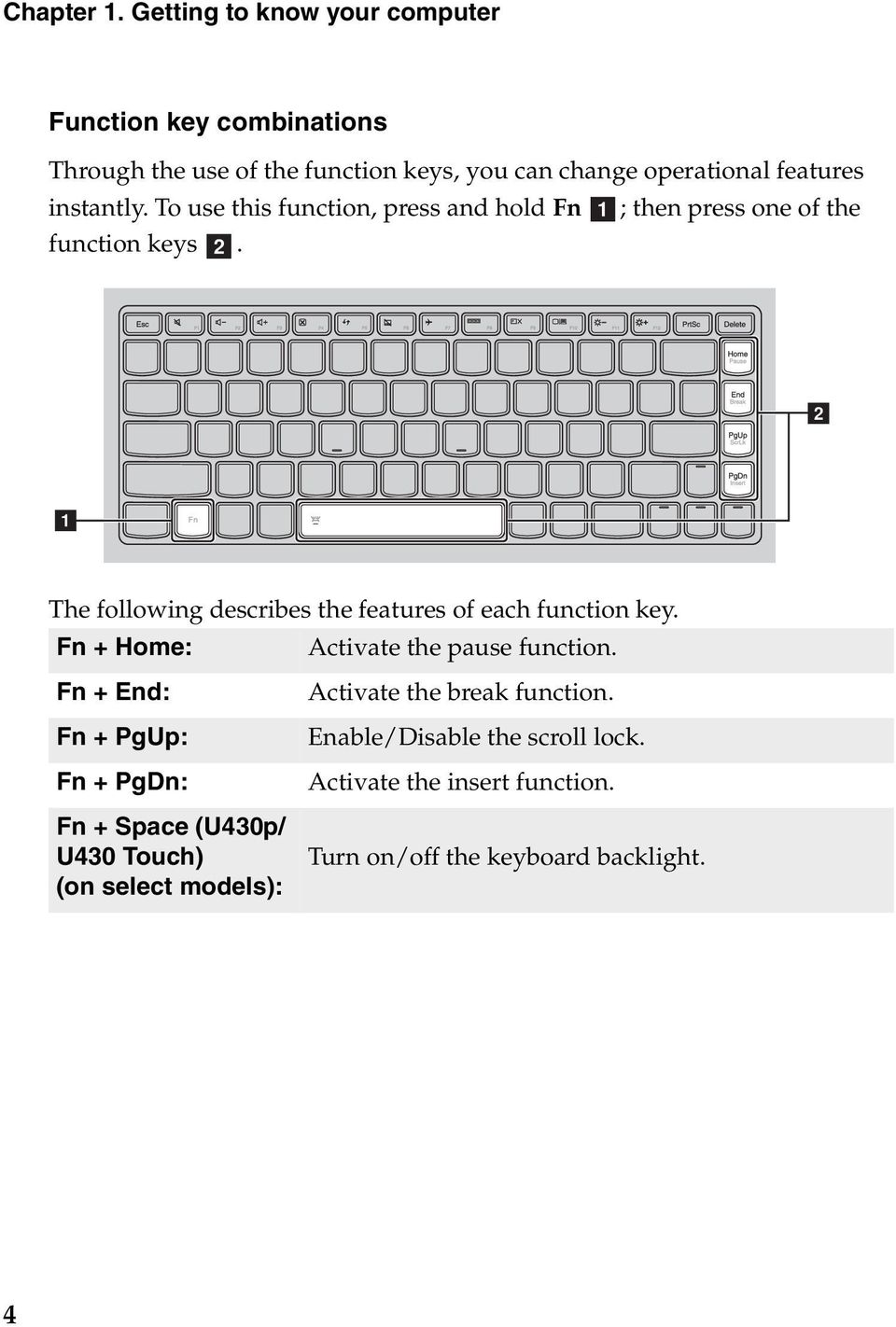 instantly. To use this function, press and hold Fn a; then press one of the function keys b.