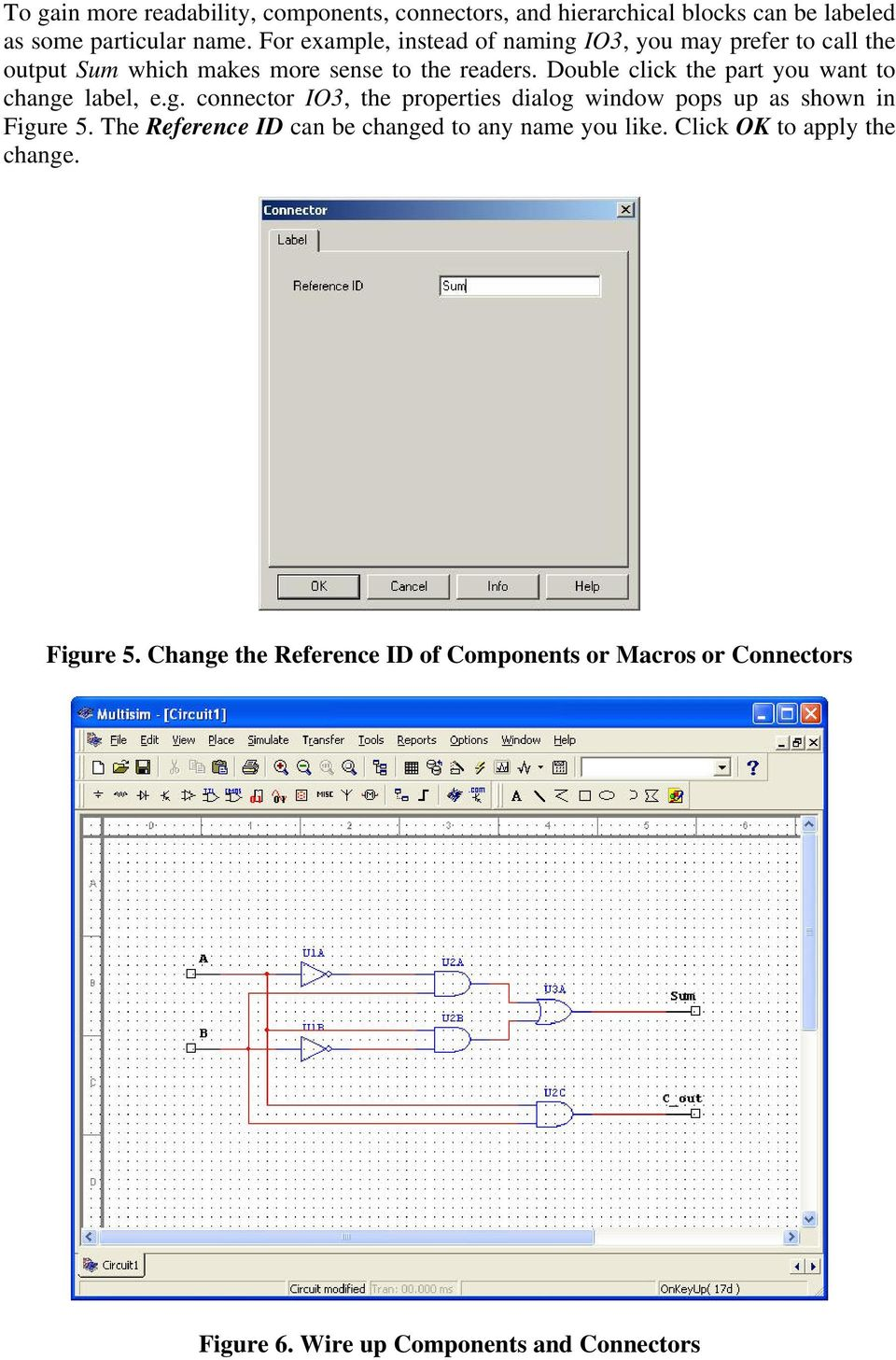 Multisim 7 Tutorial Creating Macros For Sub Circuits Pdf Relay Circuit In Double Click The Part You Want To Change Label Eg Connector Io3 Properties