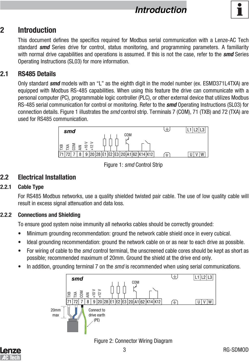 Smd Series Drives Modbus Communications Reference Guide Pdf Lenze Wiring Diagrams 1 Rs485 Details Only Standard Models With An L As The Eighth Digit In