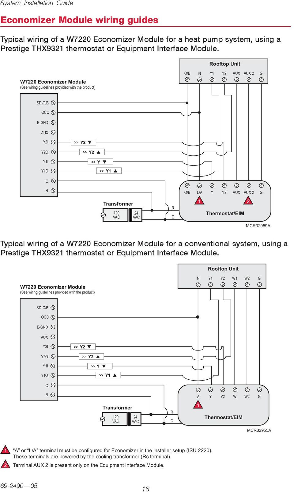 Thx9321 Prestige 20 Thx9421 Iaq With Eim Pdf Carrier Economizer Wiring Diagram Of A W70 Module For Conventional System Using Thx9 Thermostat
