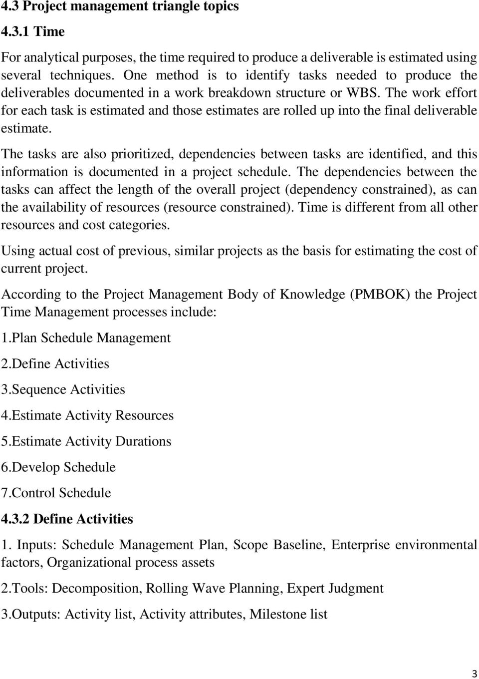 list of project management topics