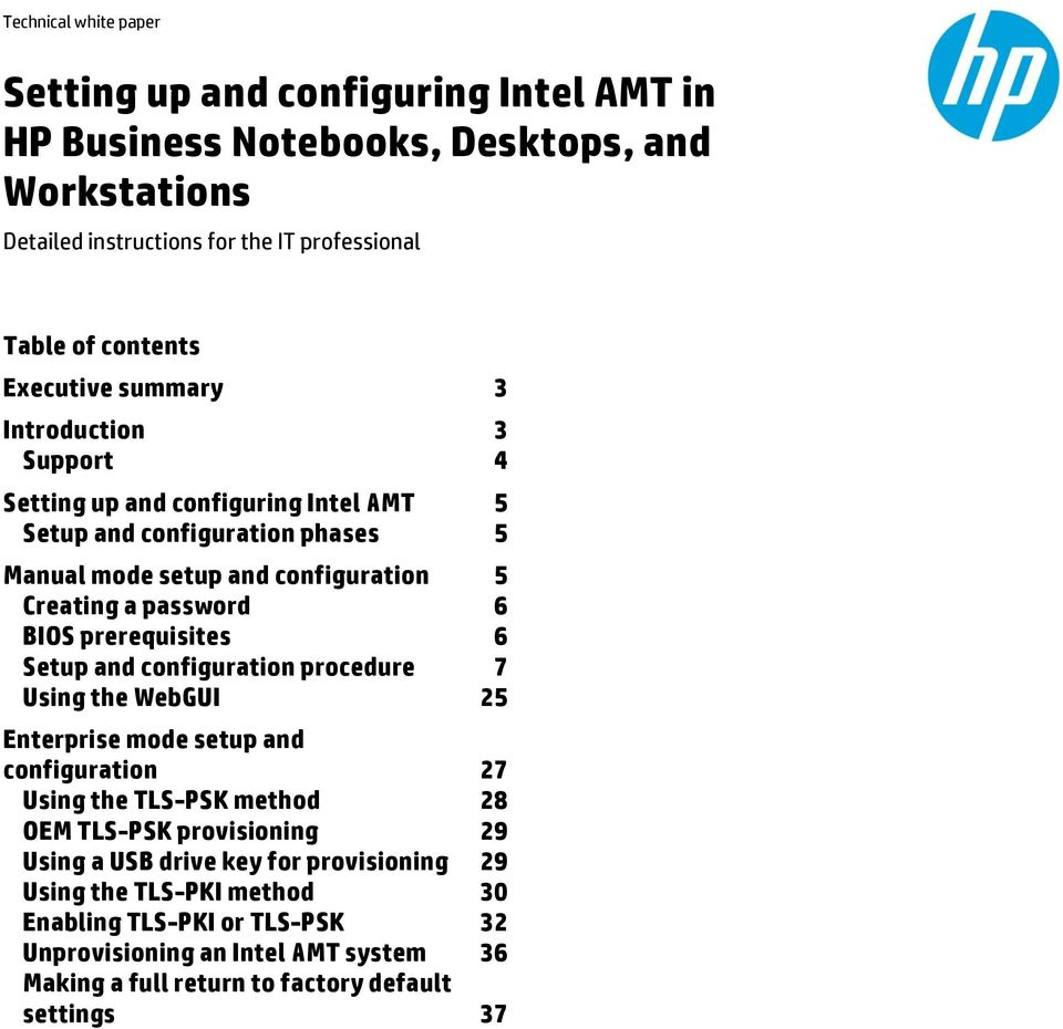 Setting up and configuring Intel AMT in HP Business
