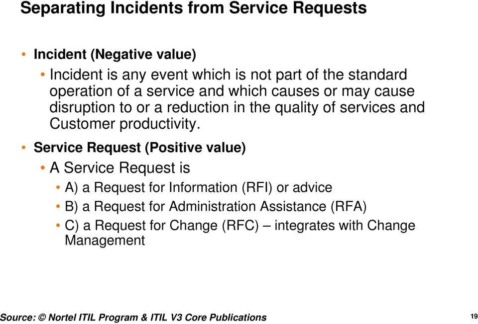 Request (Positive value) A Request is A) a Request for Information (RFI) or advice B) a Request for Administration Assistance