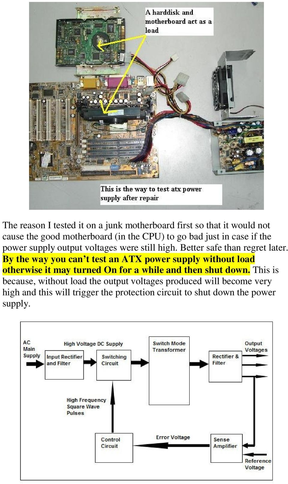 Troubleshooting And Repairing Atx Power Supply Pdf Circuit Diagram Of The Train A Typical Computer By Way You Can T Test An Without Load Otherwise It May