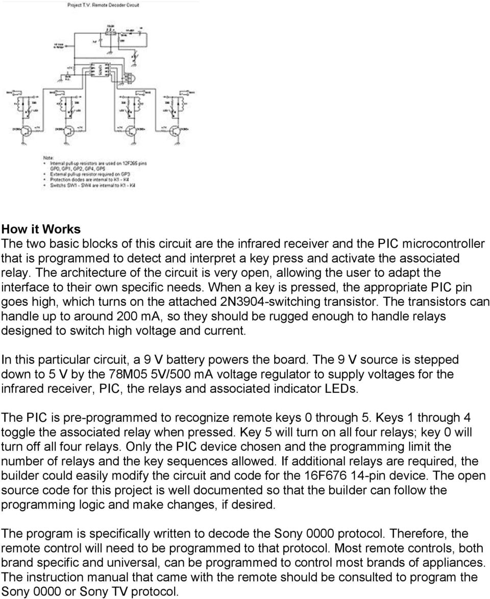 Tv Remote Controller Decoder Pdf Universal Circuit When A Key Is Pressed The Appropriate Pic Pin Goes High Which Turns On