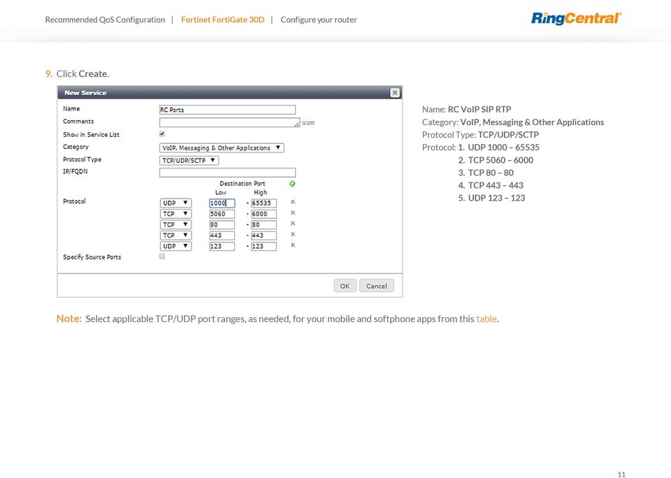 Recommended QoS Configuration Settings for  Fortinet FortiGate 30D