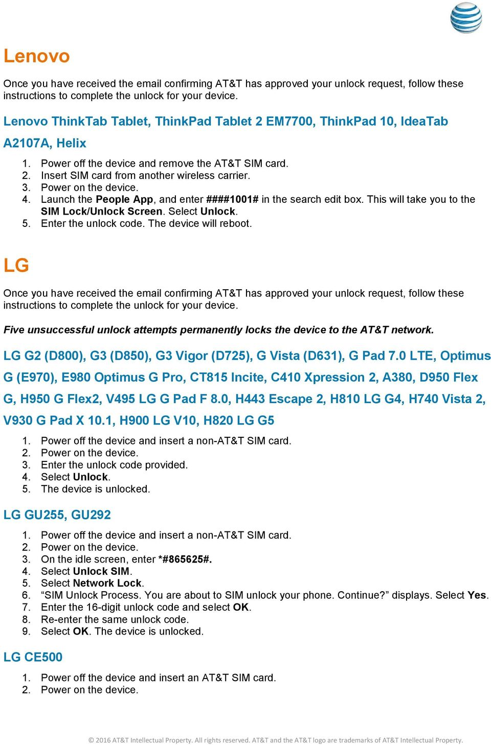 AT&T Device Unlock Code Instructions - PDF