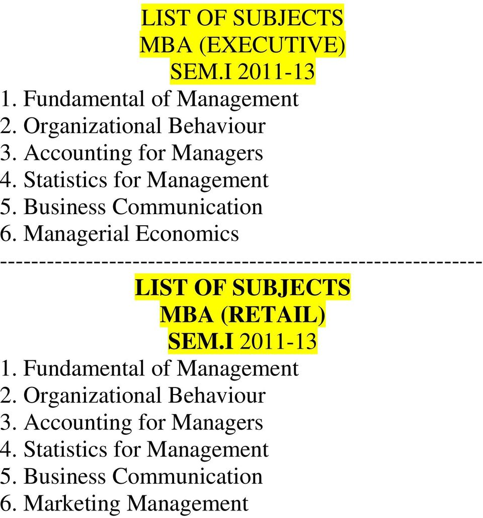 Managerial Economics -------------------------------------------------------------- LIST OF SUBJECTS MBA (RETAIL) SEM.