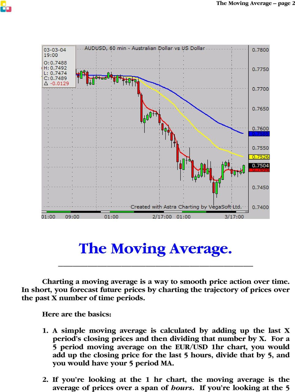 A simple moving average is calculated by adding up the last X period s closing prices and then dividing that number by X.