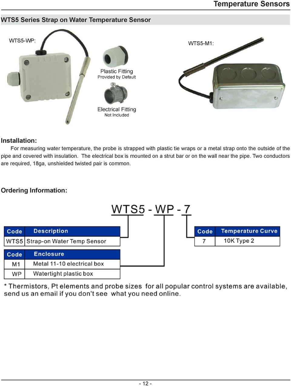 Temperature Sensors General Specification Description Pdf Water Sensor Circuit 420ma Pt100 Buy Pipe And Covered With Insulation