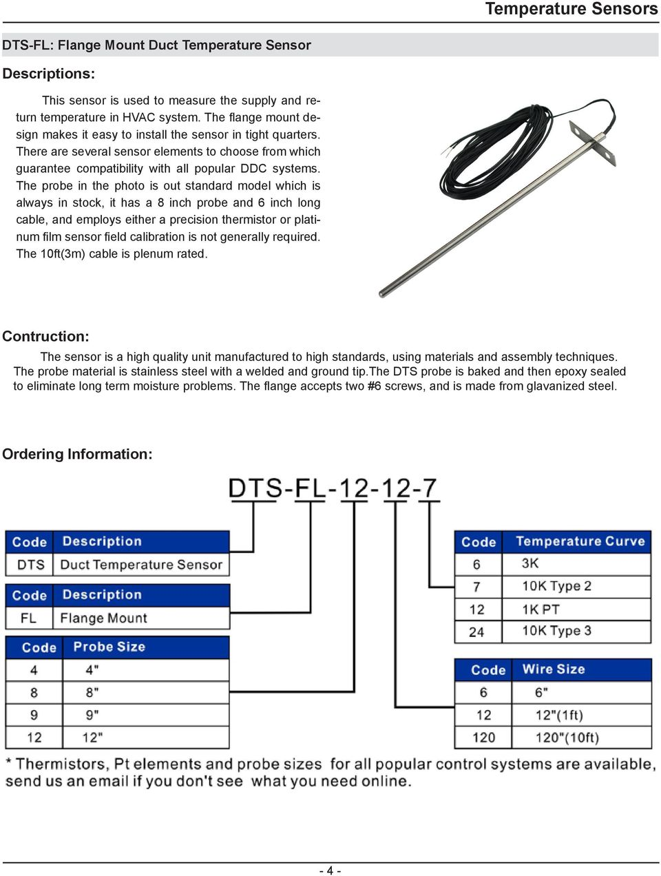 Temperature Sensors General Specification Description Pdf Water Sensor Circuit 420ma Pt100 Buy The Probe In Photo Is Out Standard Model Which Always Stock It 5 Oat Outside Air
