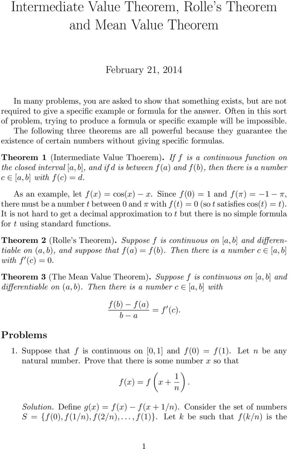 Intermediate Value Theorem Rolle S Theorem And Mean Value Theorem Pdf