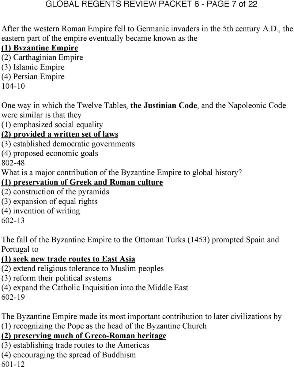 Global Regents Review Packet 6 Page 1 Of 22 The Byzantine Empire