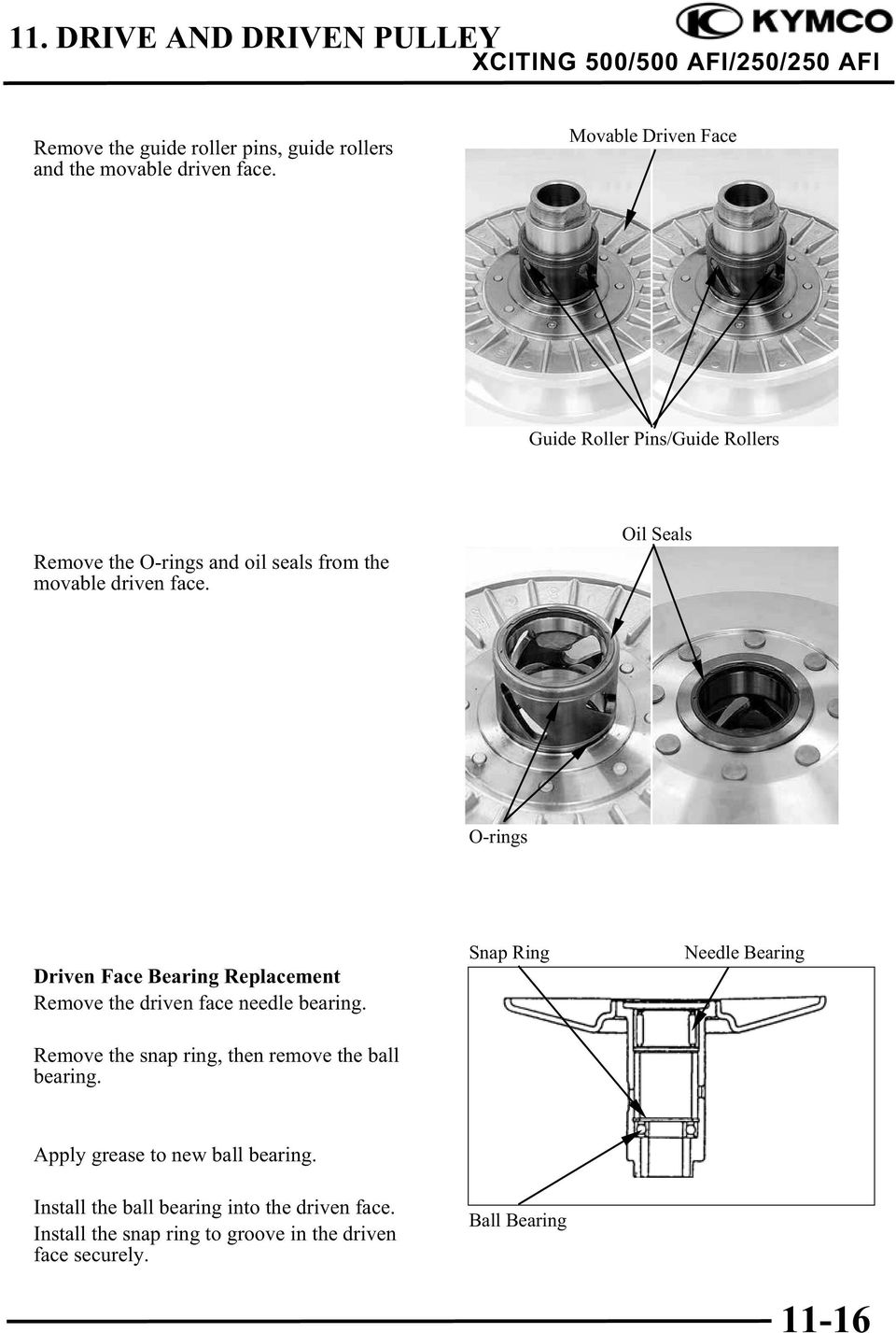 Oil Seals O-rings Driven Face Bearing Replacement Remove the driven face needle bearing.