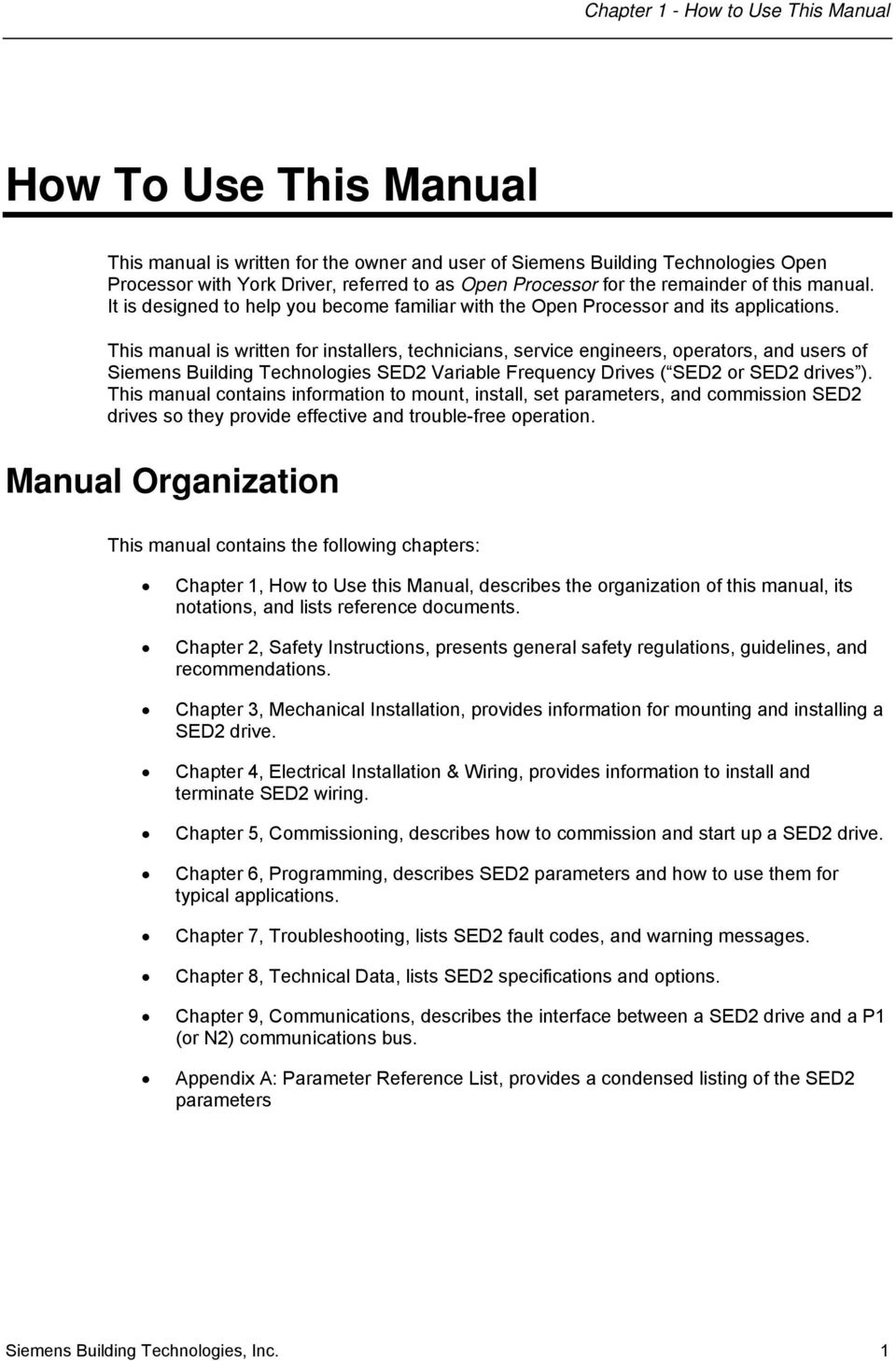 SED2 Variable Frequency Drives  Operation & Maintenance Manual - PDF