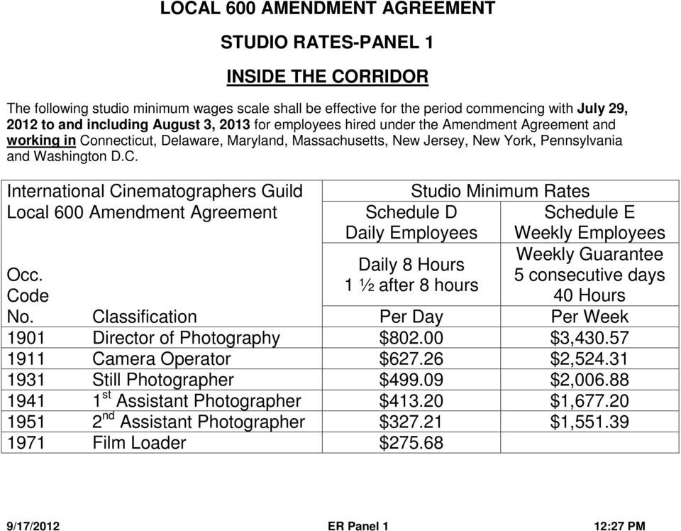 LOCAL 600 AMENDMENT AGREEMENT STUDIO RATES-PANEL 1 INSIDE