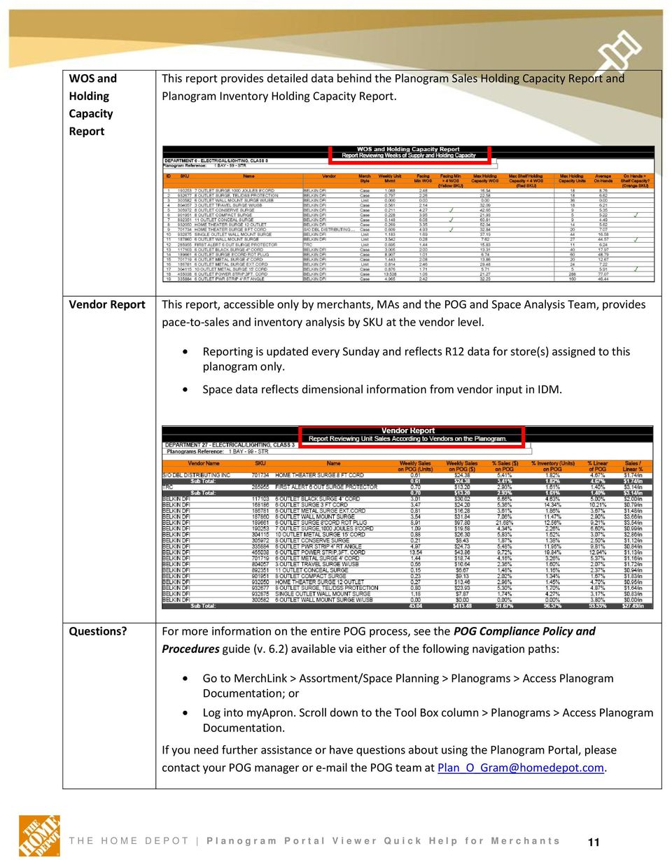 THE HOME DEPOT  Planogram Portal: Viewer Quick Help for