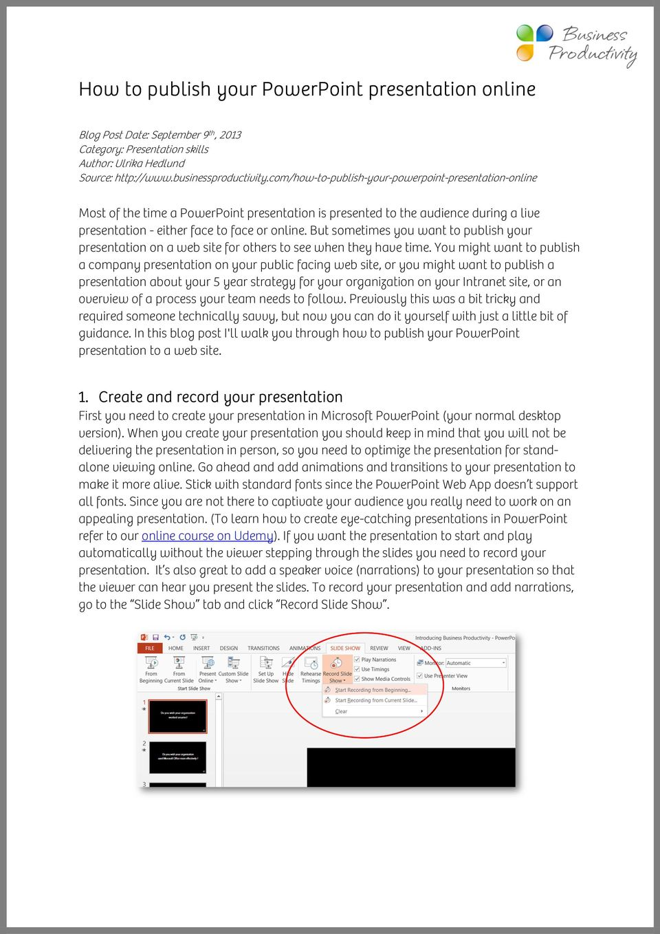 How to publish your PowerPoint presentation online - PDF