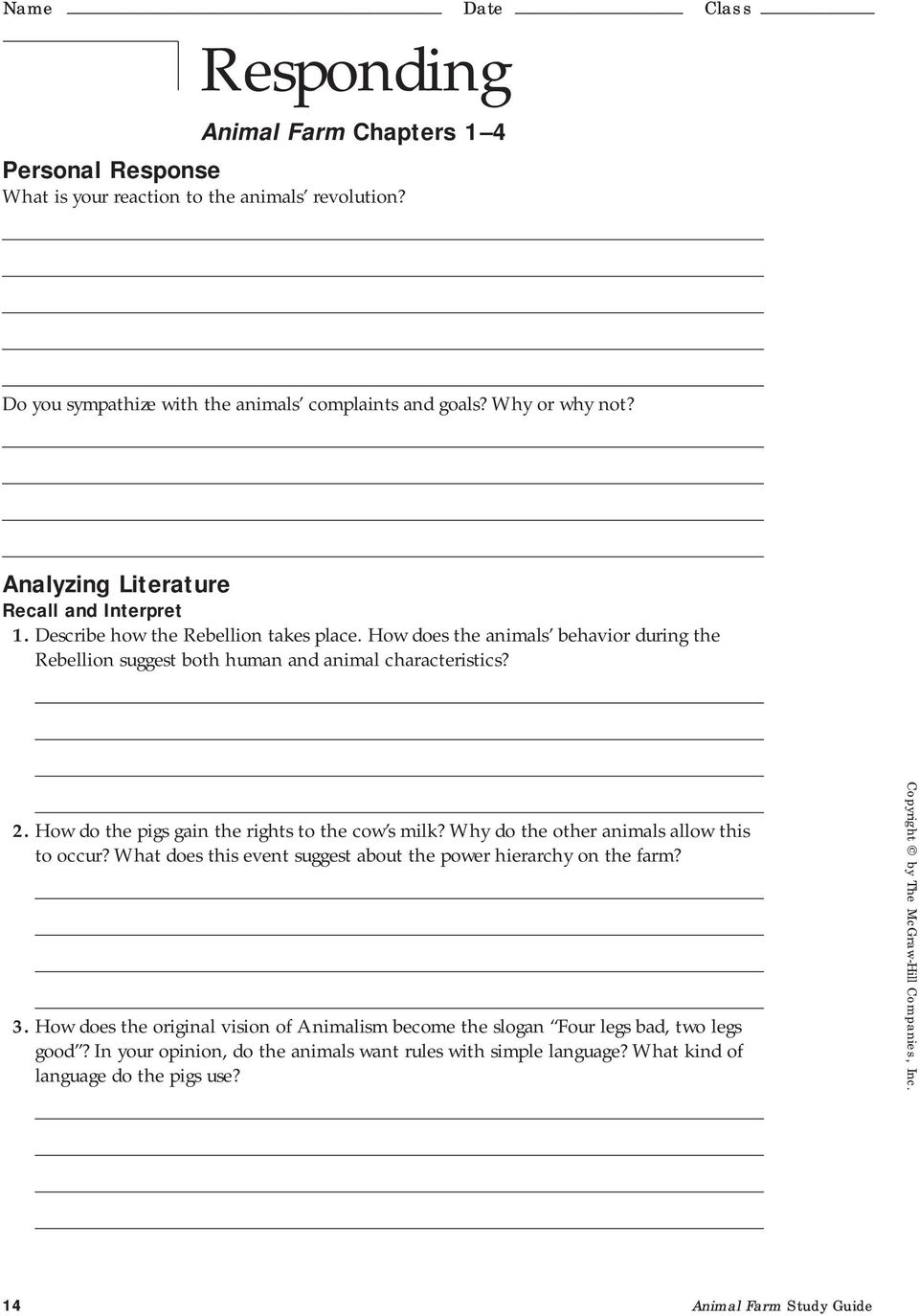 14 Animal Farm Study Guide. How do the pigs gain the rights to the cow s  milk? Why do the