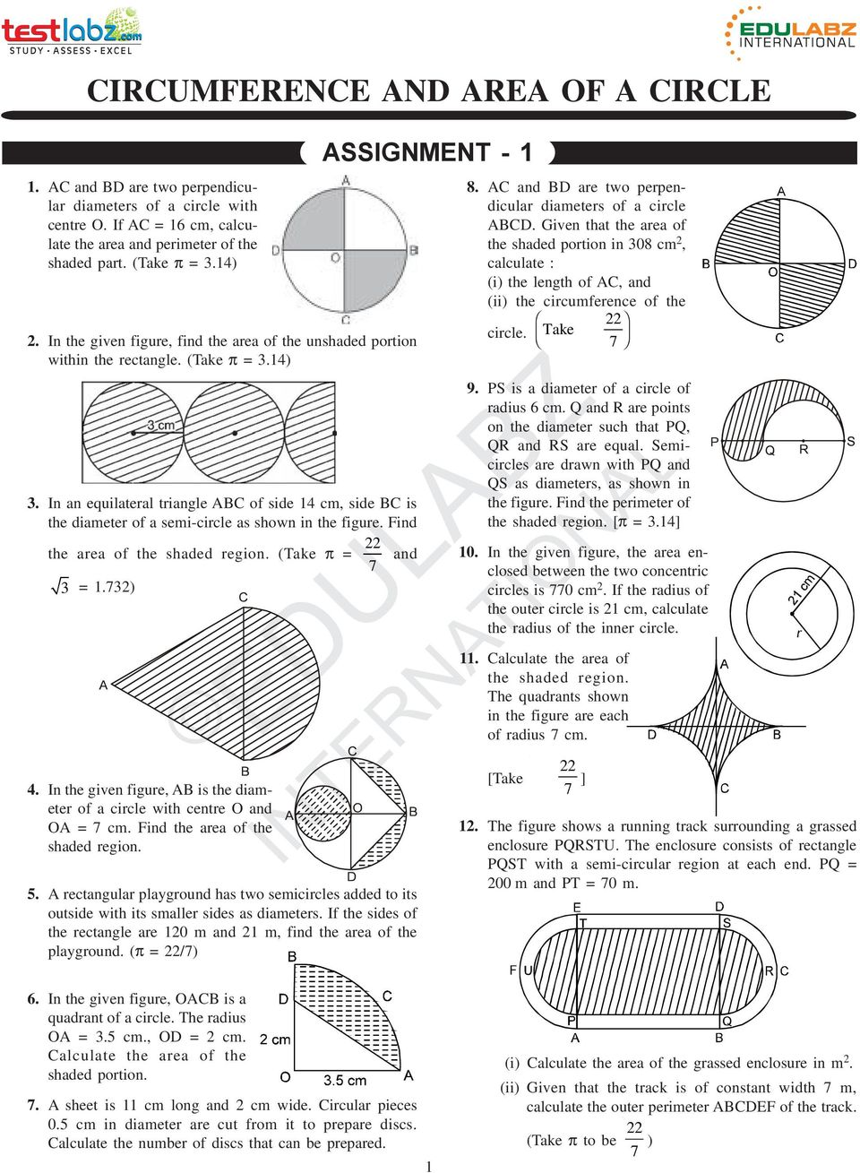 CIRCUMFERENCE AND AREA OF A CIRCLE - PDF